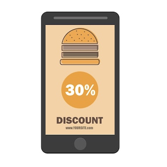 Design piatto del modello di sconto coupon hamburger fast food - icona sconto smartphone