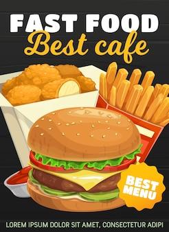 Hamburger fast food, patatine fritte e bocconcini di pollo. ordine e consegna di spuntini da bistrot fastfood da asporto. cheeseburger di cibo spazzatura, hamburger e patate fritte con salsa ketchup al menu del bar