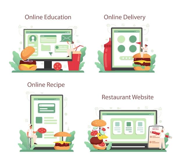 Fast food, servizio online di hamburger o set di piattaforme.