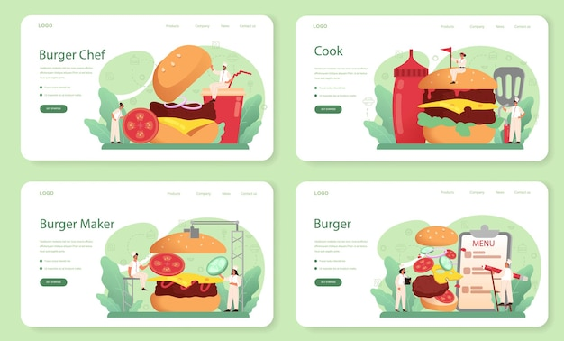 Fast food, banner web di hamburger o set di pagine di destinazione