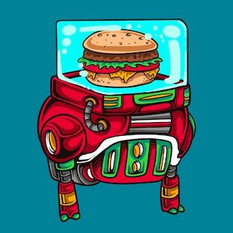 Cartone animato robot hamburger fast food