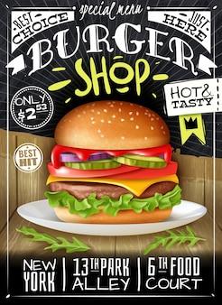Poster di hamburger fast food sulla superficie combinata in legno