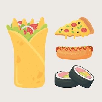 Fast food, burrito sishi hot dog e icone di pizza