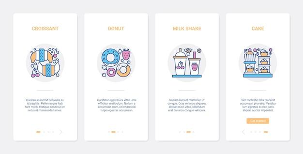Fast food per bar, panetteria o pasticceria ux ui onboarding set di schermate della pagina dell'app mobile