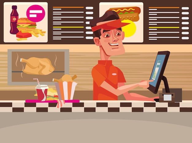 Caffè fast food. carattere di uomo cassiere sorridente felice. illustrazione di cartone animato piatto vettoriale