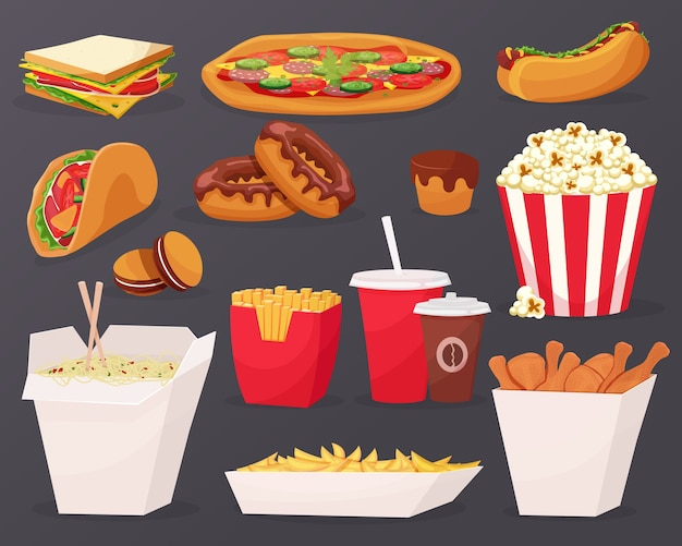 Icone del fumetto degli alimenti a rapida preparazione su priorità bassa nera