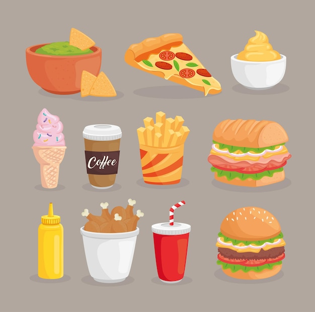 Illustrazione di raccolta di fast food