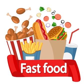 Collezione di fast food, loghi su un bianco.