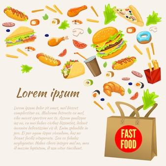Fast food design colorato