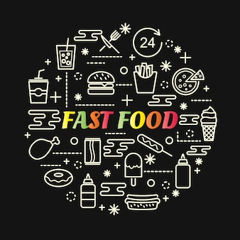 Gradiente colorato fast food con set di icone di linea