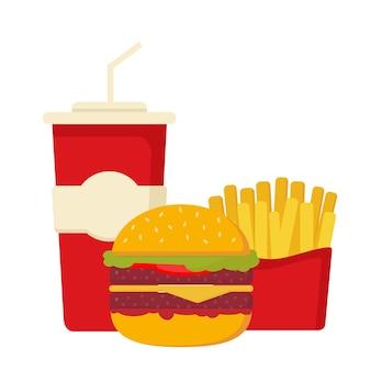 Pasto combinato fast food con hamburger fritte e bevanda