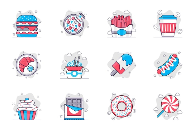 Set di icone di linea piatta concetto di fast food cibi e dolci malsani gustosi per l'app mobile