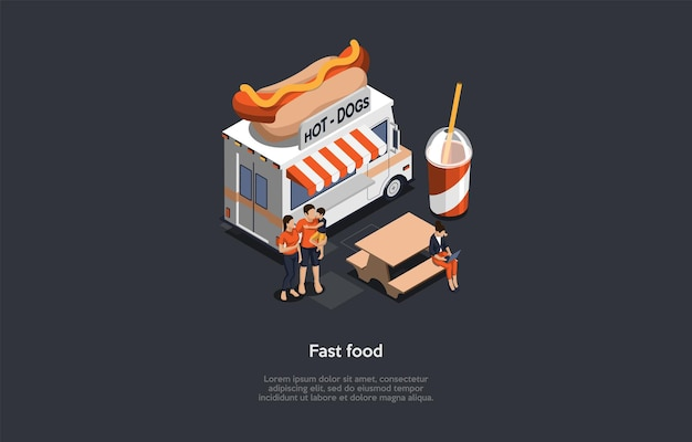Illustrazione di concetto di fast food in stile cartone animato 3d.