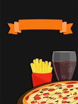 Concetto di fast food con patatine fritte, pizza e colddrink.