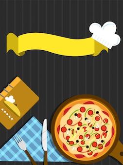 Concetto di fast food con pizza e nastro.