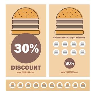 Design piatto del modello di sconto coupon fast food - buoni promozionali con adesivi