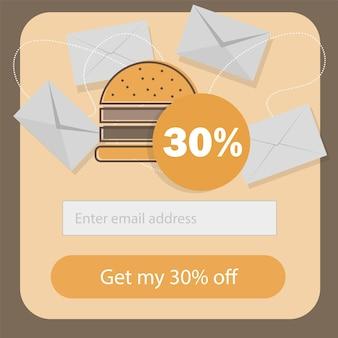 Design piatto del modello di sconto coupon fast food - modulo di iscrizione email di promozione