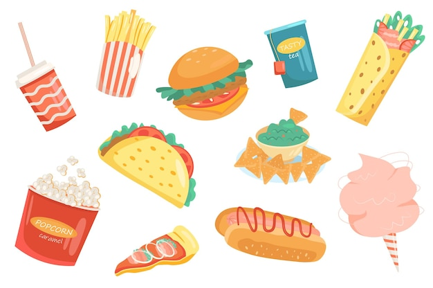 Insieme isolato elementi carini fast food