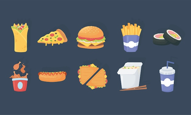 Fast food, delizioso burrito pizza hamburger patatine fritte sushi soda pollo hot dog icone