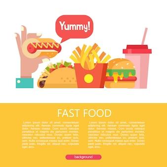 Fast food cibo delizioso illustrazione vettoriale in stile piatto