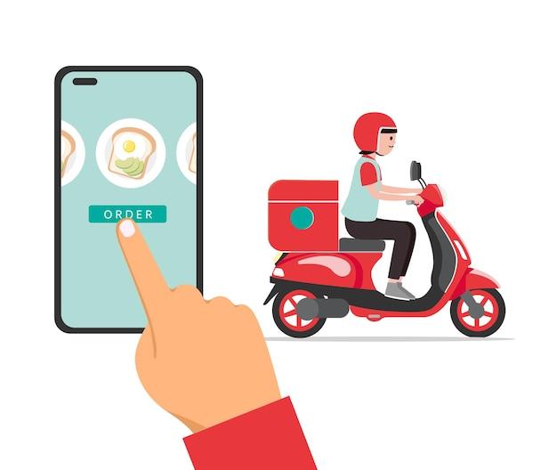 App per la consegna di fast food e donna delle consegne vettore premium