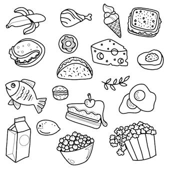 Fast food doodle icone linea arte schizzo
