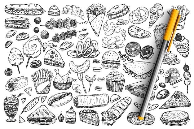Insieme di doodle di fast food.