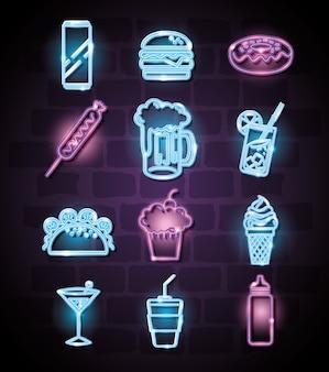 Fast food e bevande con icone di luci al neon