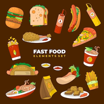Sfondo vettoriale di elementi di fast food