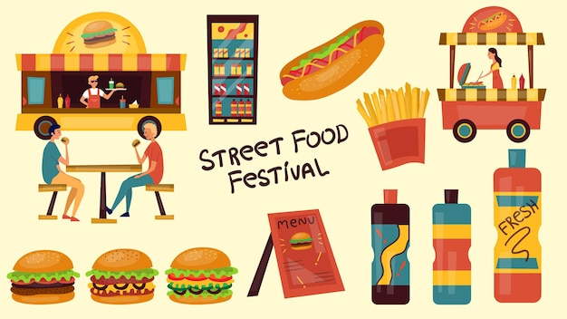 Concetto di festival di fast food. fast food di strada con persone, camion, cibo.