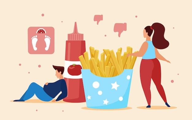 Patatine fritte fast food, concetto di eccesso di cibo con persone grasse