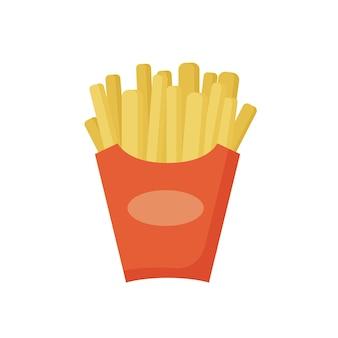 Fast food patatine fritte in una confezione rossa gustoso cibo di strada patatine fritte dei cartoni animati in scatola di carta