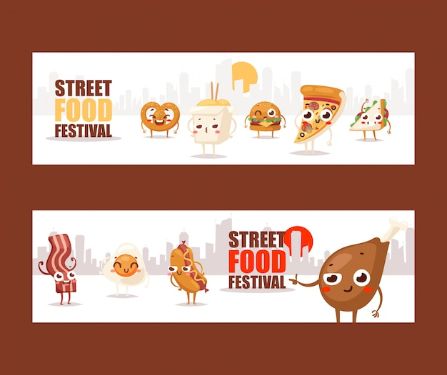 Personaggi dei cartoni animati divertenti degli alimenti a rapida preparazione insegne che pubblicizzano un festival dello street food