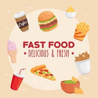 Illustrazione del gruppo di fast food