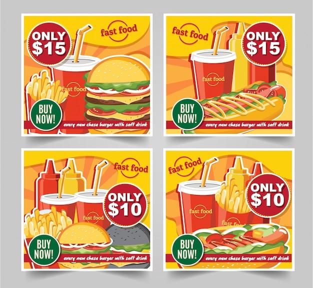 Hamburger degli alimenti a rapida preparazione, vettore stabilito degli alimenti a rapida preparazione delle insegne dei pasti degli alimenti a rapida preparazione