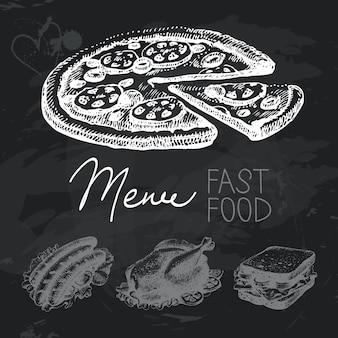 Insieme di progettazione di lavagna disegnata a mano di fast food. texture gesso nero