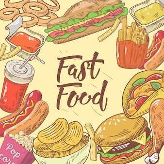Design disegnato a mano di fast food con hamburger
