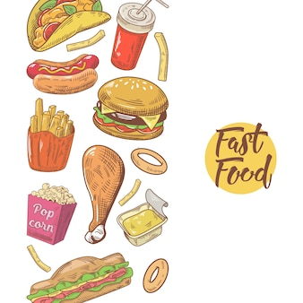 Fast food hand drawn menu design con hamburger