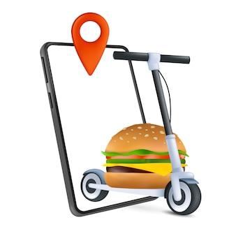 Concetto di consegna a domicilio di fast food con uno scooter elettrico, un telefono e un hamburger classico. un modo moderno di consegnare. icona 3d. cartoon illustrazione vettoriale di ordine online isolato su uno sfondo bianco