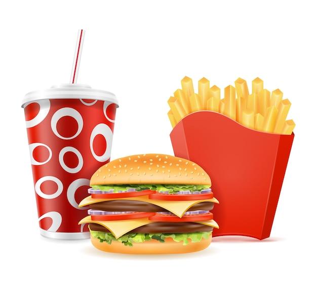 Le icone degli alimenti a rapida preparazione dell'hamburger bevono le patate fritte su white