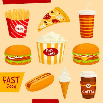 Set di icone di fast food. fastfood snack e bevande elementi isolati. hamburger, hamburger, patatine fritte, hot dog, cheeseburger, pizza, popcorn, gelato