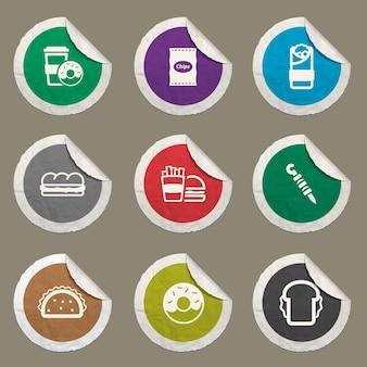Set di icone di fast food per siti web e interfaccia utente