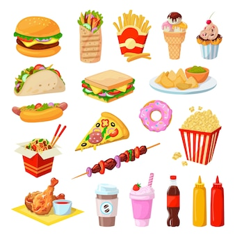 Set di illustrazione di fast food