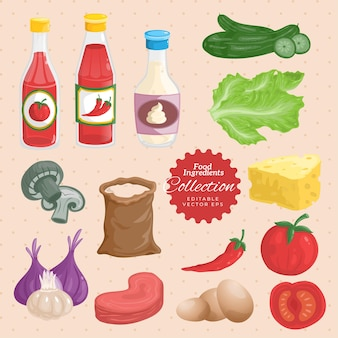 Insieme dell'illustrazione degli ingredienti degli alimenti a rapida preparazione