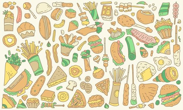 Fast food - elementi di cibo spazzatura sfondo vettoriale