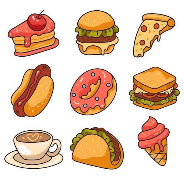Insieme isolato della raccolta dell'elemento di disegno di arte di linea di fast food