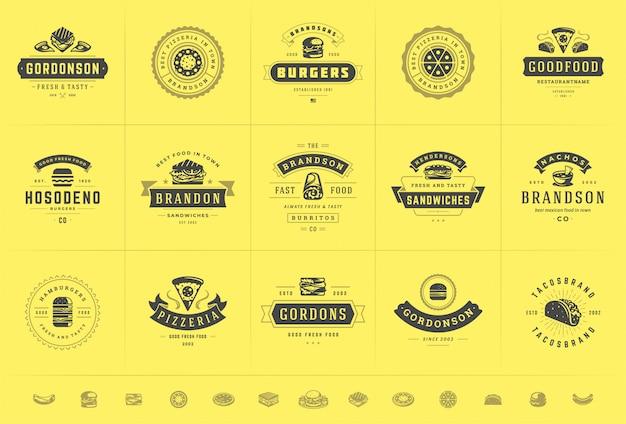I loghi di fast food sono adatti per pizzerie o hamburger e badge di menu del ristorante con silhouette di cibo