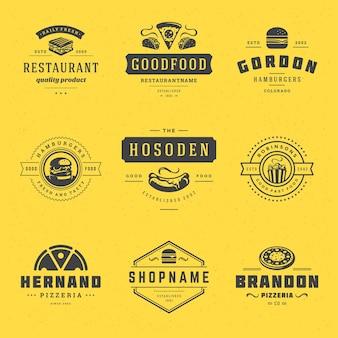 Loghi di fast food impostare illustrazione vettoriale. buono per la pizzeria, il negozio di hamburger e i badge del menu del ristorante, le sagome dei fast food. design di emblemi di tipografia retrò.
