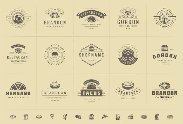 I loghi degli alimenti a rapida preparazione hanno messo l'illustrazione di vettore buona per i distintivi del menu della pizzeria o del negozio di hamburger e del ristorante con le siluette del cibo