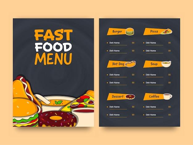 Layout del modello di scheda menu fast food con doppio lato.